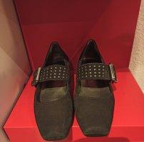 Paul Green Tacones de hebilla negro-color plata