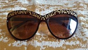 Okrągłe okulary przeciwsłoneczne złoto-brązowy