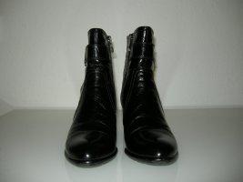 Peep Toe Booties black leather