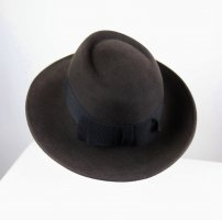 Chapeau à larges bords noir-gris anthracite tissu mixte
