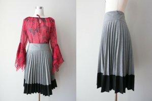 H&M Plaid Skirt black-silver-colored polyester