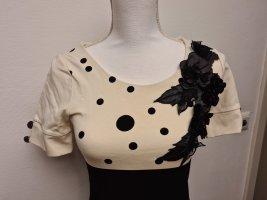 Elegantes enges Kleid Etuikleid in schwarz weiß mit Blumenapplikation gepunktet Gr. XS