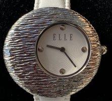 Montre avec bracelet en cuir blanc-argenté cuir