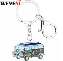 Emaillierter Schlüssel -/Taschenanhänger VW - Hippie Bus blau bunt NEU!