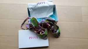 Emilio Pucci Firenze Edle Kitten Heels Seide/Bast Pucci Muster