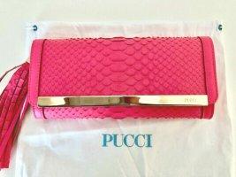 Emilio Pucci Tasche Rosa Gold Python Leder Fransen Seide Clutch Bag Pink Snake