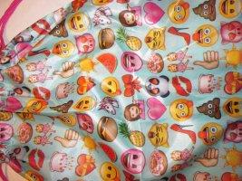 emoji Rucksack Tasche Turnbeutel Sporttasche hellblau Print Kordel Zugband pink Stringbag NEU IN
