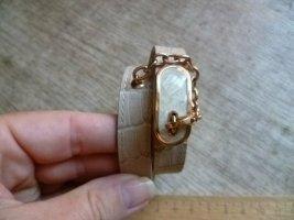 Emporio Armani Damen Armband Leder Kette Monogramm gewickelt