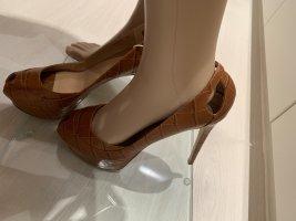 Emporio Armani Peep Toe Pumps cognac-coloured-brown