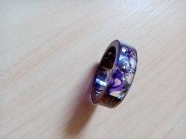 Handmade Statement ring zilver-lila