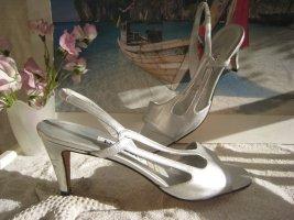 Escada Zauberhafte Luxus Sandaletten Silber Perlmutt Schimmer Elegant & Edel NP 380 €
