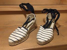 Sandales à talons hauts et plateforme blanc cassé-bleu foncé