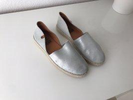 Schuhmacher Espadrille sandalen lichtgrijs-zilver