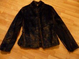 esprit collection Chaqueta de piel marrón-negro tejido mezclado