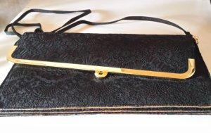 Esprit de.corp Clutch Abendtasche schwarz/gold mit Spitze - wie neu
