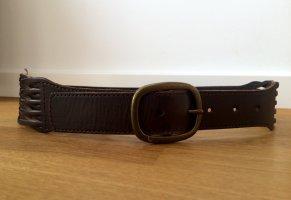 Esprit Cinturón de cuero marrón oscuro-color bronce Cuero