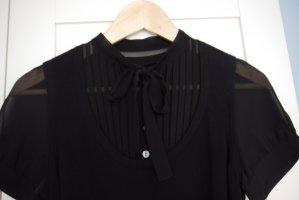 Esprit Kleid schwarz mit transparentem Einsatz + Ärmel Schleife S NEUw.