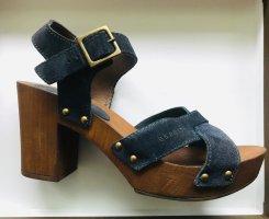 Esprit Leder Sandalen Absatzschuhe Pumps mit Holzabsatz ungetragen