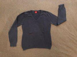 ESPRIT Pullover, Strick, Größe L (fällt kleiner aus), blau, V-Ausschnitt, Basic