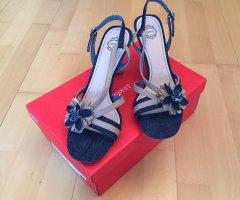 Esprit Sommer Sandaletten Denim Jeans Optik mit Blume