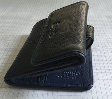 Esquire Rindsleder Portemonnaie schwarz/blau genarbt - neu