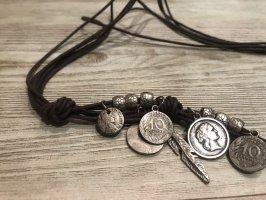 Cinturón de cadena marrón oscuro-color plata