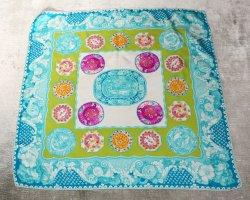 Etro Silk Cloth cornflower blue-green silk