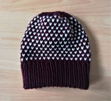 Etsy Chapeau en tricot bordeau-blanc laine