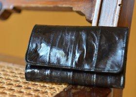 Vintage Étui porte-clés noir-doré cuir