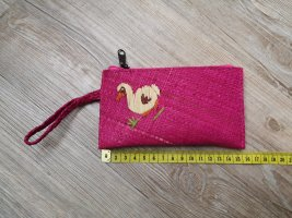 Etui Portemonnaie pink aus Palmenblätter