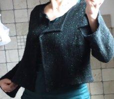 Evelin Brandt Berlin, Designer Strickjacke grün PAN mit Wolle, Schurwolle, Strickjacke grün, dunkelgrün, kurzes Jäckchen, Bolero, meliert, TOP Zustand, Gr. 38