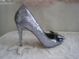 Even & Odd´´Zauberhafte Silber Glitzer High Heels Stilettos 10,5 cm NP 195 € Top Neuwertig