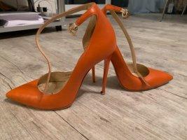 Evita Pumps - Riemchen - Orange/Dunkles Apricot - Stiletto - Größe 36