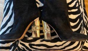 Casadei Botas de tacón alto negro-color oro Cuero
