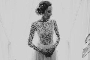 Suknia ślubna w kolorze białej wełny-biały Tkanina z mieszanych włókien