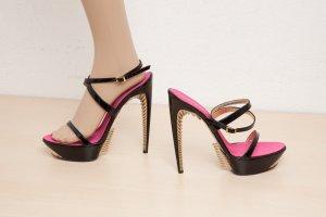 extravagante Designer DSQUARED2 High Heels Größe 40, Blogger, Fashion, Party, Hochzeit, Catwalk, Lack, schwarz