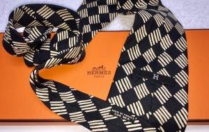 Hermès Szal krawatowy czarny-kremowy