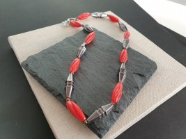 Collana rosso-argento