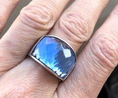 Extravaganter 925 Silberring silber Ring mit blauem Stein Ananasschliff