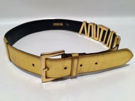 Moschino Leather Belt gold-colored-black leather