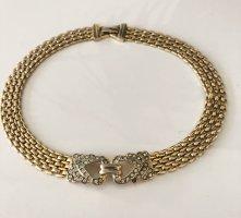 Extravagantes 80er Jahre Collier vergoldet vintage kette Halskette Goldkette