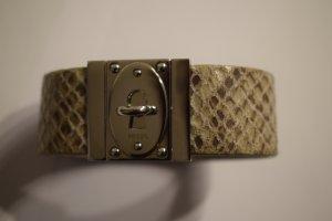extravagantes Armband im Snakeprint von Fossil, silberfarbener Verschluss
