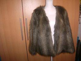 H&M Chaqueta de piel marrón grisáceo Fibra sintética