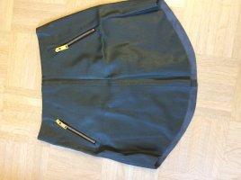 Zara Leather Skirt dark green-gold-colored