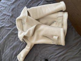 Zara Chaqueta de cuero de imitación blanco puro