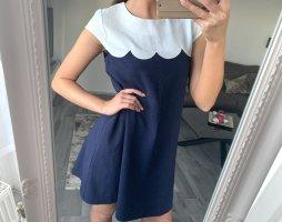 Faltenkleid A-Kleid Cocktailkleid Ausgehkleid Sommerkleid / Molly Bracken / Weiß Blau / 36 S / Basic Casual Elegant