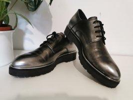 Fantasy Shoes Damen Budapester Halbschuhe Schnürschuhe silbergrau Größe 41