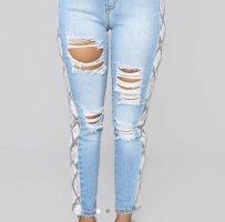 Fashion Nova Jeans Snake Eyes Distressed Jeans