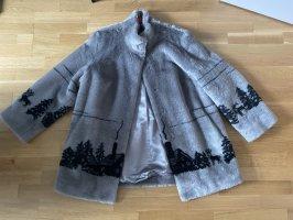 Giacca di pelliccia argento-nero