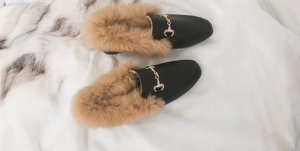 100% Fashion Sabots black-beige pelt